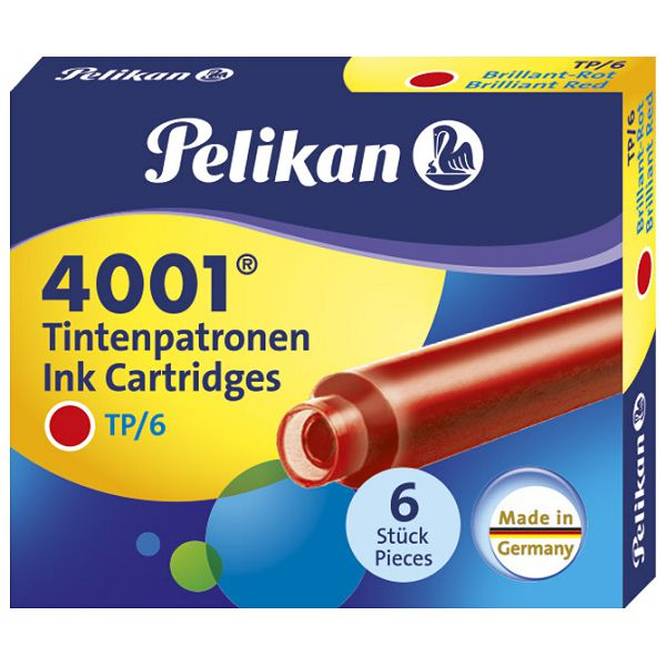 Tinta za nalivpero patrone pk6 4001 Pelikan 301192 crvena