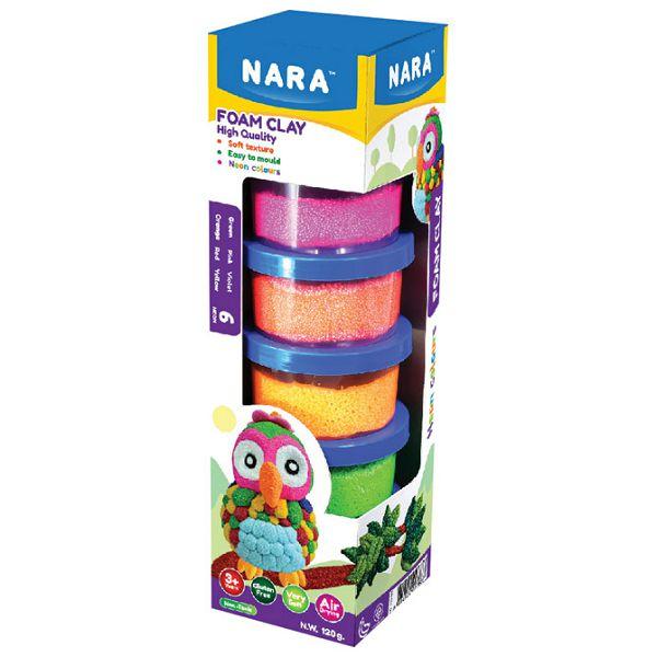 Set plastelin pjenasti 6 neon boja x 20g (total 120g) Nara FO-120-6N
