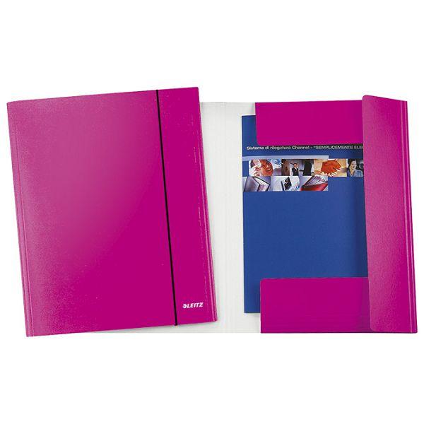 Fascikl klapa s gumicom karton A4 Wow Leitz 39830023 metalik rozi