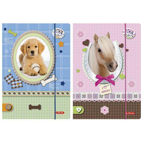 Fascikl klapa s gumicom karton lak A4 Pretty pets Herlitz 10671329
