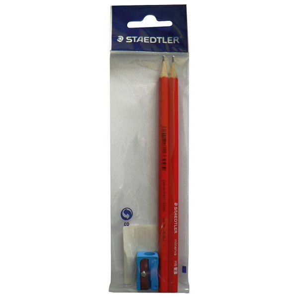Olovka grafitna HB Minerva+šiljilo pk2 Staedtler 130 60-2BŠ blister
