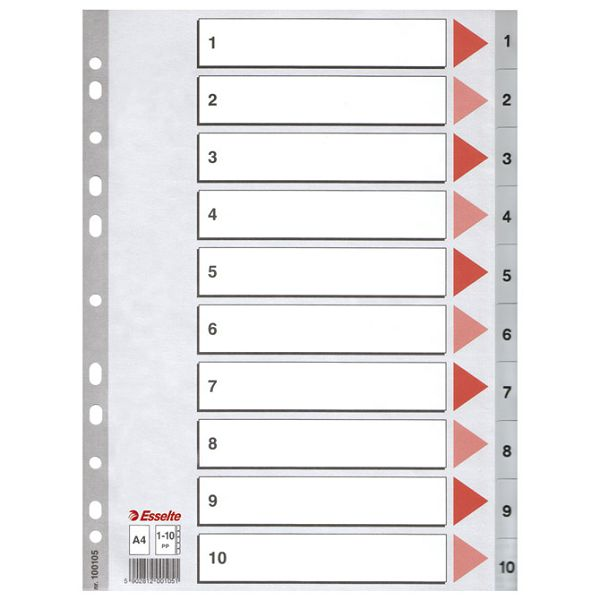 Pregrada plastična A4 brojevi 1-10 Esselte 100105 siva