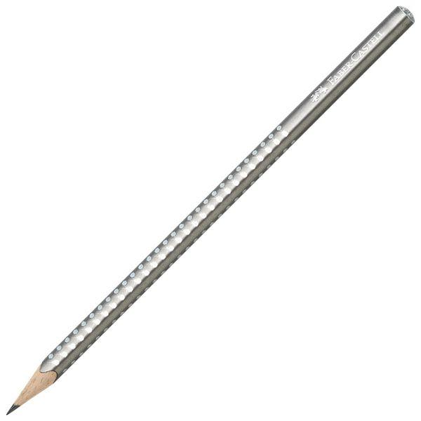 Olovka grafitna B Grip Sparkle pearl Faber-Castell 118213 metalik srebrna