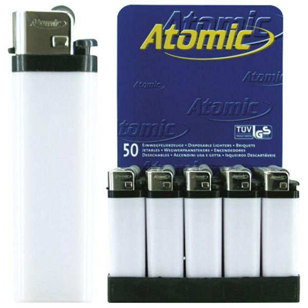 Upaljač jednokratni sjajni Atomic Reibrad bijeli
