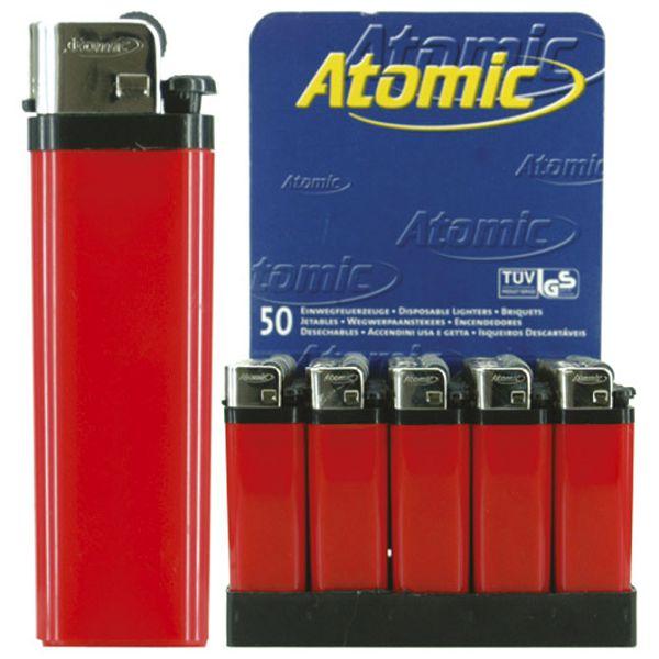 Upaljač jednokratni sjajni Atomic Reibrad crveni