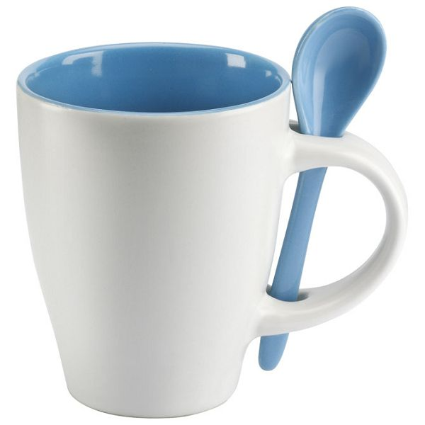 Šalica 250ml sa žličicom bijela/plava