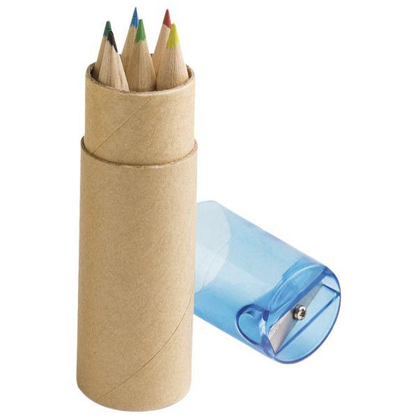 Boje drvene   6boja kratke+šiljilo plave